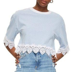TOPSHOP Stripe Lace Hem Crop Shirt NWT
